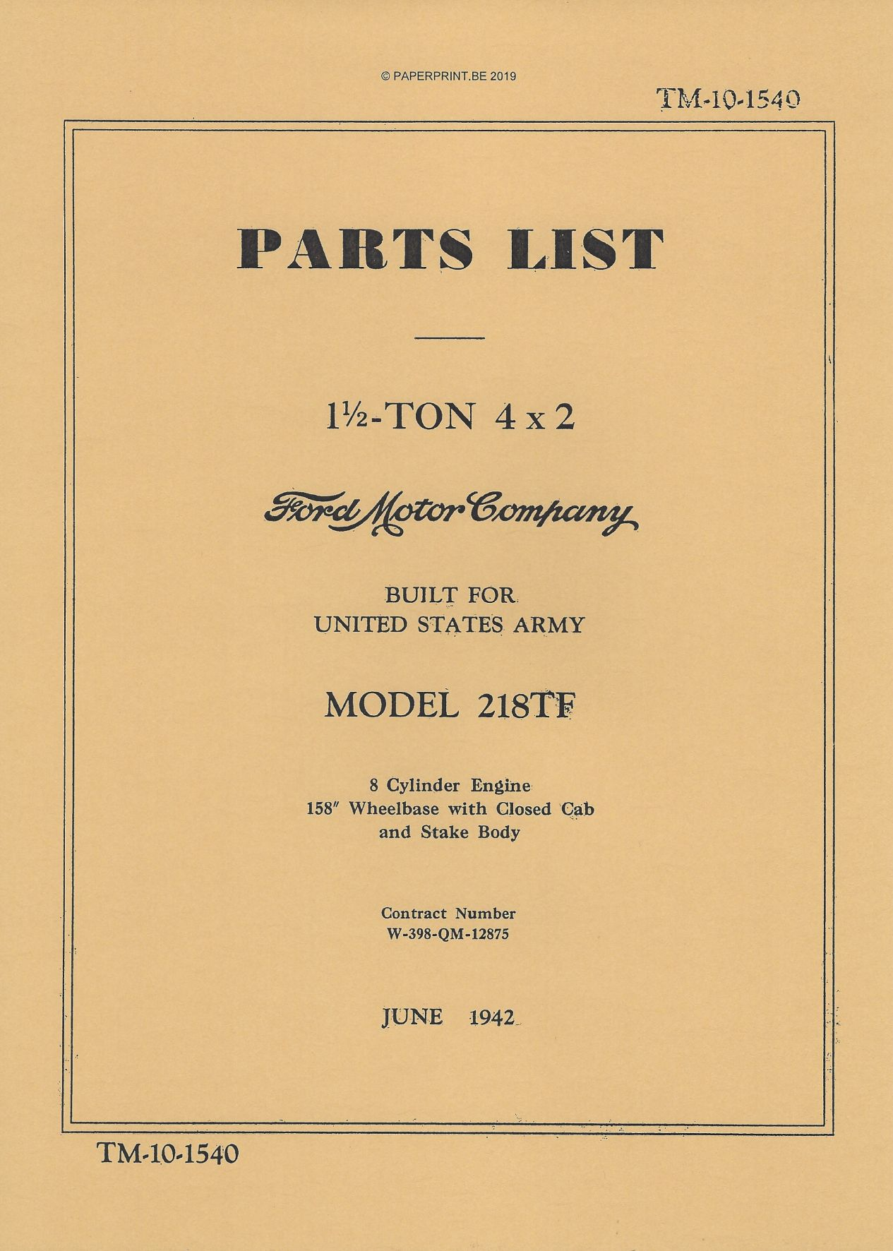 TM 10-1540 FORD 1½ TON 4x2 MODEL 218TF PARTS LIST