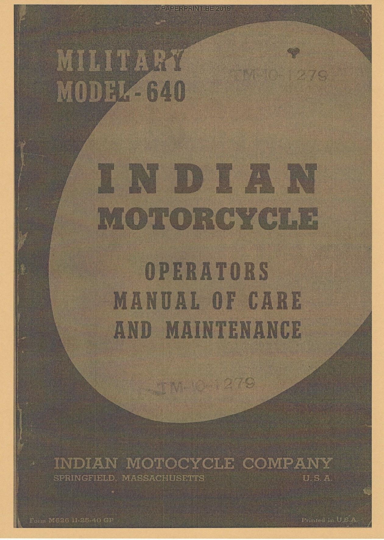 TM 10-1279 US INDIAN MODEL 640 OPERATORS MANUAL OF CARE AND MAINTENANCE